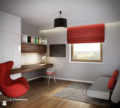 Projekt wnętrz domu jednorodzinnego-Realizacja 2013/2014 - Gabinet, styl nowoczesny - zdjęcie od Mogho-Design