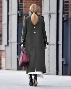 Olivia Palermo in a green coat out in Brooklyn - January 2017