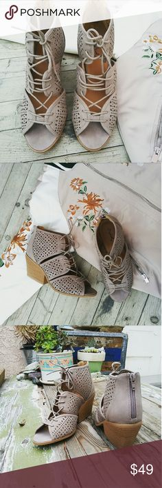 //The Daisy// Taupe cut out lace up Sandal Brand new  Never been worn Comes in original box No trades!! Price is Firm!! Many more sizes Available True to Size. Man made materials Shoes Sandals