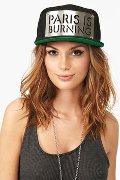 Paris Is Burning Cap - a cool hat, that I would wear, but I think if Paris was actually burning I would be very very sad. Diy Fashion, Fashion Looks, Womens Fashion, Paris Is Burning, All Things Fabulous, Female Head, Cool Hats, City Style, Nasty Gal