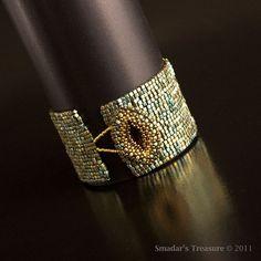 Metallic Green Patina Iris Bracelet with Beaded Dark Topaz Button