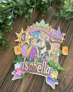 Cake Toppers, Diy Cake Topper, 1st Birthday Themes, Birthday Party Invitations, Bolo Rapunzel, Rapunzel Birthday Party, Disney Scrapbook, Unicorn Party, Diy Party