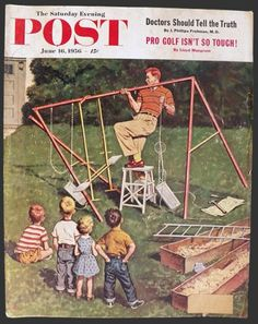 1956 Saturday Evening Post Cover ~ Dad Struggles with Jungle Jim