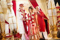 indian wedding bride groom hindu ceremony traditional red sari mandap http://maharaniweddings.com/gallery/photo/11628