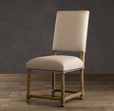 """Empire Camelback Upholstered Side Chair  Restoration Hardware Weathered Oak Belgian Linen Sand Item # 62830050 BLSA Overall: 21""""W x 26""""D x 41""""H Seat: 20""""H Weight: 23 lbs."""