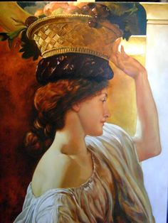 I MIEI DIPINTI Copia da The girl with a basket of fruit di Sir Frederic Leighton - olio su tela (50x70)