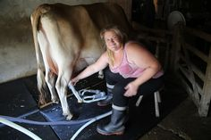 """Raw milk at The Calf at Foot Dairy     """"I fucking hate men. Male farmers resent female farmers - they want to control you. My dad always said 'you can't farm there's no money in it'. But I don't do it for the money. I do it so I can sleep at night. If women were still the farmers farming would be different. You don't have to push animals so hard. There wouldn't be any of this industrialisation; the cruelty the chemicals. When I go to a supermarket that's what I see: aisles full of…"""