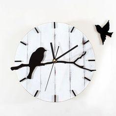 "Wall Clock Pastoral Cute Retro Bird Watch Creative Home Decor 11.8"""