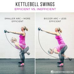 WANT A BETTER KETTLEBELL SWING?? here we have a little visual on how to optimise your kettlebell swings!-The smaller the arc of the kettlebell, the more efficient your swing will be. This is why we recommend hiking the bell high between your legs, and keeping the shoulders packed at the top position (as shown in the photo on the left.)-When you let the bell go too low in the back swing and then travel out in front of you at the top! This is just one of the many tips and exercises we have!