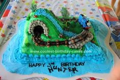 Homemade Thomas the Train Island of Sodor Birthday Cake: First of all – thanks to Christina R.!  Her cake really inspired me and my cake is a copy cat cake of her Thomas the Train Island of Sodor Birthday Cake!