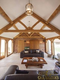 Oak Sun Rooms, Orangeries, Garden Rooms and Conservatories - Oak extension. Timber Roof, Timber Frame Homes, Roof Beam, Timber House, Glass Roof Extension, Roof Design, House Design, Oak Framed Extensions, English Cottage Interiors