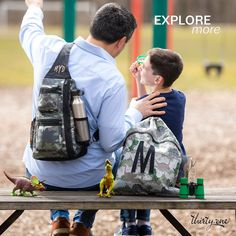Have a a great time exploring with the Sling Back Backpack and the Cinch Sac! Happy Fathers Day, Fathers Day Gifts, Cinch Sack, Father's Day, Back Bag, Utility Tote, Thirty One Gifts, New Print, You Bag
