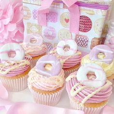 Macmillan Coffee Morning Cupcake idea - Party Ring Cupcakes With White Chocolate Milky Bar Drizzle Cupcakes Fondant, Cute Cupcakes, Pink Cupcakes, 1st Birthday Cupcakes, Valentine Cupcakes, Girlie Birthday Cakes, Biscuit Cupcakes, Donut Cupcakes, White Chocolate Cupcakes