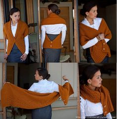 How easy this would be to make. The pattern is a Russian knitted pattern, but crochet your favorite rectangle shawl or scarf pattern and add buttons in just the right places. Knitted Shawls, Crochet Scarves, Crochet Clothes, Diy Clothes, Knit Or Crochet, Crochet Shawl, Knitting Patterns, Crochet Patterns, Wrap Pattern