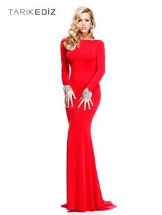 Tarik Ediz Evening Gown. Long sleeve with crystal cuffs, low back, in red. (Style #: 92271) In store stock.