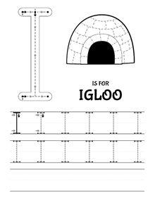 """The letter """"I"""" - I is for Igloo: Tracing worksheet  // La letra """"I"""" - I de Iglú: Ficha de trazo  #prewriting #preescritura #grafomotricidad #trazo #tracing #letters #lettering #i"""