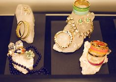 A clever way to display your jewelry! Big crystal geodes!