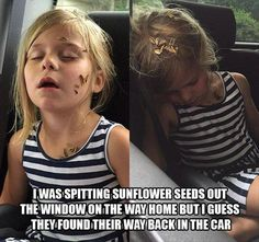 I don't know if I'd be the one spitting the sunflower seeds or be the one unconsciously receiving them.