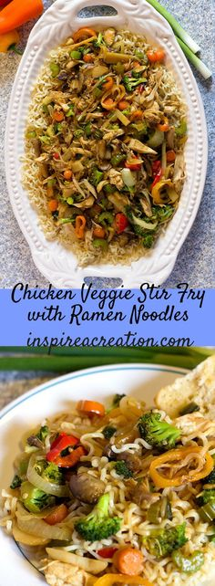 Chicken Veggie Stir Fry with Ramen Noodles covers all the bases because of all the healthy vegetables. Get your Chinese fix today! #chicken #veggies #vegetables #stirfry #ramen #noodles #chinese #maincourse #inspireacreation