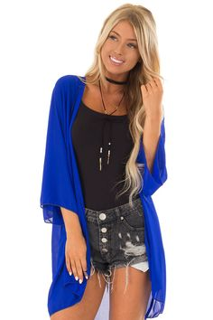 a2b61a37673 Lime Lush Boutique - Royal Blue Chiffon 3/4 Sleeve Kimono, $32.99 (https