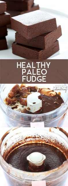 Healthy, rich chocolate Paleo fudge, with no added sweeteners of any kind (not even sugar substitutes!). http://glutenfreeonashoestring.com/healthy-paleo-fudge/