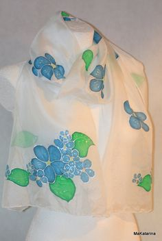 Hand painted silk shawl, silk scarf, spring floral shawl, spring fashion, spring scarf, forget me not, handmade, gift for her, s7 by MaKatarina on Etsy