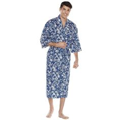 Big & Tall Residence Tropical Kimono Robe (€99) ❤ liked on Polyvore featuring men's fashion, men's clothing, men's sleepwear, med blue, mens dressing gown, men's apparel, big & tall men's clothing and mens big and tall bathrobes