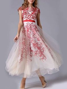 Wow this is really great, an organza skater dress.  Cap Sleeves Skater Organza Round Neck Maxi Dress  Dress