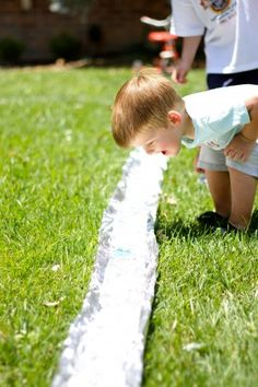 Foil river - It is a great summer activity which can be offered to play in the yard. I can make up tin foil river across the yard and put water. Children can bring their ship to float on the river. We don't need to bring children to water park or beach. It is much safer and cheaper.