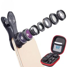 Apexel APL-DG7 7 in 1 Fisheye Wide Angle Mcro Lens 2X Zoom CPL Filter Kit Set for Moble Phone Tablet