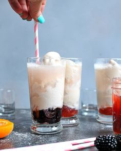 These boozy ice cream floats are the perfect summer dessert for entertaining. Mix in your favorite flavor of jam with creamy Silk almondmilk, dairy-free ice cream, your go-to rosé, and a splash of sparkling water. Frozen Desserts, Summer Desserts, Sweet Desserts, Frozen Treats, Wine Ice Cream, Ice Cream Floats, Wine Recipes, Whole Food Recipes, Dairy Free Ice Cream