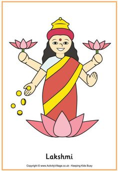 Here's a pretty printable poster of the Hindu goddess Lakshmi, traditionally encouraged into houses at Diwali, the Hindu Festival of Lights. Diwali Festival Drawing, Diwali Drawing, Hindu Festival Of Lights, Hindu Festivals, Drawing For Kids, Art For Kids, Diwali Story, Diwali Poster, Indian Art Gallery