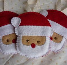 Set of 3 Handmade Felt Santa Ornaments by rosecottagedesignss, £12.00 #feltornaments