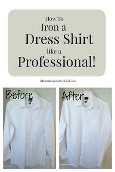 How to Iron a Dress Shirt Like a Professional and save big bucks in Dry Cleaning fees! Dry Cleaning Business, Dry Cleaning At Home, Cleaning Tips, Shirt Sleeves, Long Sleeve Shirts, Shirt Hacks, Men Dress, Dress Shirt, Iron Shirt