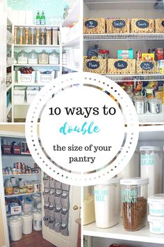 How to double the size of your pantry.  Home Organization, How to Organize Your Home, Life Organization, Home Organization, Pantry Organziation