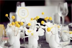 grey and yellow table