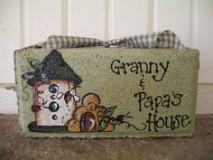 Painted Brick -- Granny & Papa's House with Bird House and Bee Hive