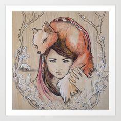 Safe in My Red Riding Hood, on Balsa by Tasha Chapman watercolor, graphite #ElementEdenArtSearch