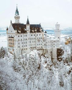 """perpetuallychristmas: """"banshy: """" Neuschwanstein Castle // Asyraf """" Christmas Posts All Year! (New posts every 3 minutes!) """" perpetuallychristmas: """"banshy: """" Neuschwanstein Castle // Asyraf """" Christmas Posts All Year! (New posts every 3 minutes! Fantasy Landscape, Winter Landscape, Fantasy Art, Beautiful Castles, Beautiful Places, Places To Travel, Places To Visit, Travel Photography, Landscape Photography"""