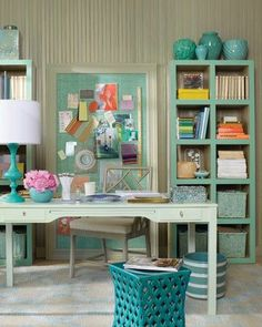 Deliciously organized office and desk in turquoise, aqua, seafoam, mint and celadon.