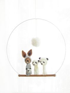 FINGER PUPPET MOBILE / Wall Hanging,  Needle-Felted Kangaroo & Panda Family, Nursery or Home Decor and Soft Toy for a baby or a child. $100.00, via Etsy.