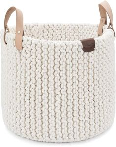 online shopping for UGG Tulum Handmade Cotton Rope Storage Basket Leather Handles, Natural, Large from top store. See new offer for UGG Tulum Handmade Cotton Rope Storage Basket Leather Handles, Natural, Large Crochet Storage, Crochet Box, Crochet Basket Pattern, Knit Basket, Rope Basket, Basket Bag, Bead Crochet, Free Crochet, Crochet Home Decor