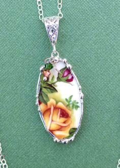 Broken China Jewelry Oval Necklace Pendant Old Country Rose Sterling Silver