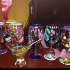 Bachelorette wine glasses i make for my girlfriends :)