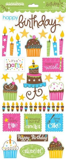Birthday Bliss Glittered Cardstock Scrapbooking Stickers