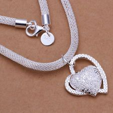 New Fashion Free Shipping 4mm Jewelry Silver Charm Heart Pendant Necklace