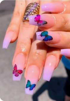 nails with butterflies ~ nails with butterflies ; nails with butterflies acrylic ; nails with butterflies short ; nails with butterflies design ; nails with butterflies blue Summer Acrylic Nails, Cute Acrylic Nails, Acrylic Nail Designs, Nail Art Designs, Spring Nails, Winter Nails, Summer Nails, Short Nails Acrylic, Butterfly Nail Designs