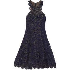 Marchesa Notte - Embellished Lace Mini Dress (1.230 BRL) ❤ liked on Polyvore featuring dresses, navy, blue sequin dress, vintage dresses, lace dress, short blue dresses and blue cocktail dresses