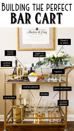 How to Style a Bar Car Like a Pro! The Perfect Bar Cart Formula--> How to Style a Bar Car Like a Pro! The Perfect Bar Cart Formula--> Home Bar Decor, Bar Cart Decor, Ikea Bar Cart, Diy Bar Cart, Gold Bar Cart, Black Bar Cart, Apartment Bar, Apartment Living, College Girl Apartment