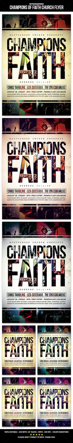 Champions of Faith Church Flyer Template PSD #design Download: http://graphicriver.net/item/champions-of-faith-church-flyer/13906244?ref=ksioks